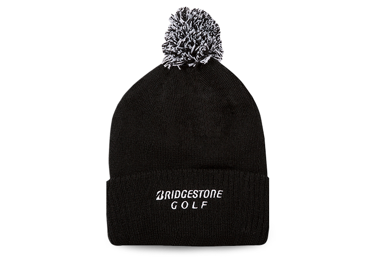 Bridgestone Golf Pom Beanie Black Back